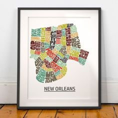 New Orleans map art, New Orleans art print, New Orleans typography map, map of New Orleans, New Orleans neighborhood city map with title