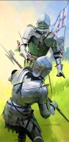 Combate de caballeros en la Batalla de Tewkesbury 1471.