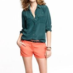 J. Crew broken in chino shorts Adorable bright coral chino shorts by J. Crew. Super chic for summer. Front pockets. Bright coral/ pinkish color. Size 0 fits true to size! J. Crew Shorts