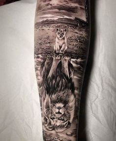 Rate This Lion Reflection Tattoo 1 to 100 Sketches Lion Head Tattoos, New Tattoos, Cool Tattoos, Tatoos, Phoenix Tattoos, Celtic Tattoos, Amazing Tattoos, Lion Tattoo Sleeves, Wolf Tattoo Sleeve