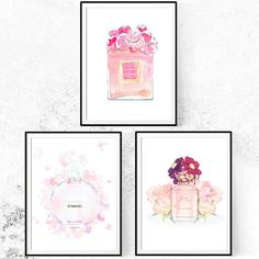 Chanel Print Fashion Print Art Set. Set of 3 Watercolor Perfume Print. Limited Edition.
