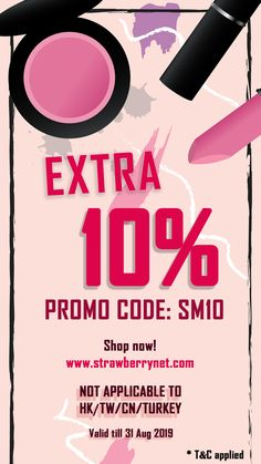 Social media exclusive! ❤️Use code [SM10] to receive:  -⭐Extra 10%off sitewide.   Promotion period: 23 – 31 August 2019 Promo code SM10 is not applicable on Hong Kong, China, Macau, Taiwan and Turkey.  Promotion can be not be used in conjunction with other offer (except new customer, apps, HK exclusive region offer) -In case of dispute, Strawberrynet reserves the right of final decision