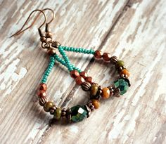 cherise rustic copper beaded hoop earrings. $8.00, via Etsy.