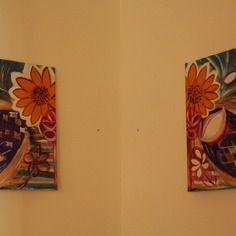 Tableaux diptyques acryliques abstraits - art deco châssis  33 x 41 cms