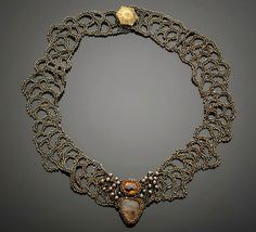 Citrine and dendritic quartz collar by Jackie Haines - freeform netting