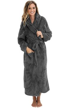 Alexander Del Rossa Womens Fleece Robe, Long Plush Hooded Bathrobe