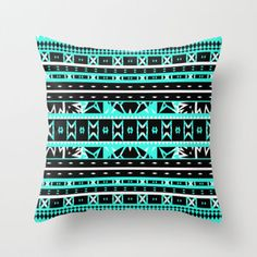 Mix #452 Black White Aqua Aztec Print Throw Pillow by Ornaart