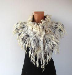 Felted scarf  collar -  White beige raw wool curly  locks. $87.00, via Etsy.