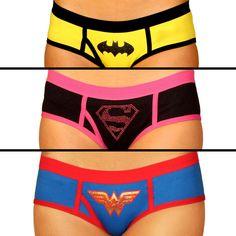 Superhero Boy Shorts -  feature the symbols of Supergirl, Batman, and Wonder Woman.