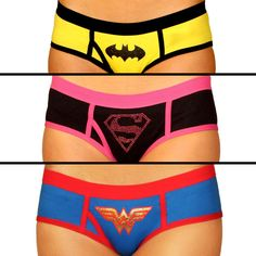Superhero Boy Shorts -  feature the symbols of Supergirl, Batman, and Wonder Woman.