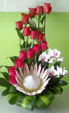 King protea, orchids, and roses