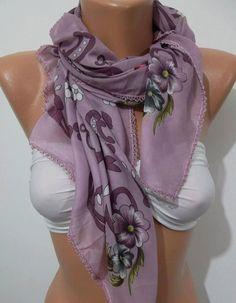 Elegant Scarf / Shawl   Cotton Scarf Lilac by womann on Etsy, $13.50