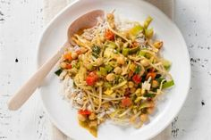 Curry met kikkererwten, kokosmelk en rijst