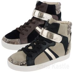 c921123910 AnnaKastle New Womens Faux Suede Snake Print High Top Sneaker Trainer US 5  6 7 8