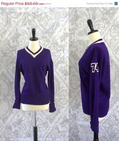 Vintage 1950s Sweater Cardigan 50s Purple