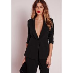 Missguided Fitted Tailored Suit Blazer ($64) ❤ liked on Polyvore featuring outerwear, jackets, blazers, black, fitted blazer, blazer jacket, sexy jackets, fitted jacket and tuxedo jacket