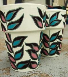 Set of 2 hand-painted ceramic pots - abstract leaves by augusta