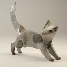 Anna Noel: Cat.  Hand modelled and raku fired. 27 cms high.