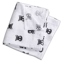 aden + anais muslin swaddler with skulls. (not every baby is the sailboat type.)