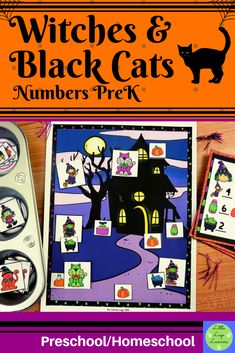 These Witches & Black Cats Number Lessons are the perfect addition for Math Centers for homeschool/preschool. This time saving, leveled resource is engaging with its vibrant pictures and stimulating content! Your multi-aged 4-6 year old children will enjoy learning about Halloween and numbers with these interactive lessons Preschool Halloween, Halloween Witches, Halloween Activities, Morning Activities, Cat Activity, Number Activities, Numbers Preschool, Time Saving, Dramatic Play