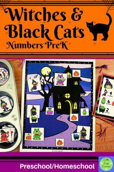 These Witches Preschool Halloween, Halloween Witches, Halloween Activities, Numbers Preschool, Preschool Math, Maths, Morning Activities, Cat Activity, Number Activities