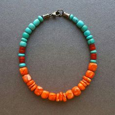 Turquoise Bracelet Kingman Mine Turquoise Spiny Oyster And Red