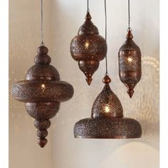 Moroccan Hanging Lamp - Antique Copper Finish Pricey lanterns from Viva Terra