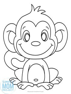 Click and get this free printable cute baby cartoon monkey coloring page! He is simple for preschoolers and toddlers. Adults and big kids would love coloring this monkey sheet too! Print and get yours now! Monkey Coloring Pages, Free Kids Coloring Pages, Coloring Sheets For Kids, Halloween Coloring Pages, Christmas Coloring Pages, Animal Coloring Pages, Free Printable Coloring Pages, Coloring Book Pages, Free Coloring