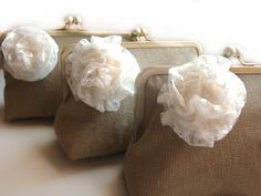 Bridesmaid Gifts - Bridesmaid Purse - Burlap Clutches and Lace Flowers - Wedding Bag Clutches by Lolis Creations via Etsy.