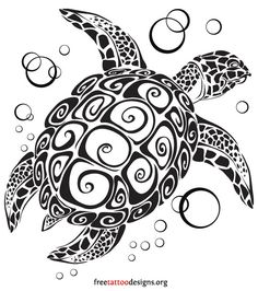 Sea turtle tattoo design
