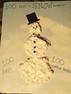 100 days of school idea: 100 cotton ball snowman
