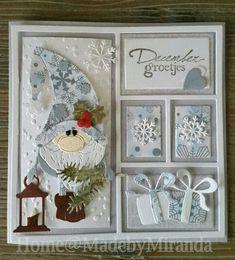 Chrismas Cards, Simple Christmas Cards, Beautiful Christmas Cards, Homemade Christmas Cards, Merry Christmas Card, Christmas Gnome, Blue Christmas, Xmas Cards, Winter Christmas