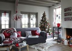 New living room grey red pillows ideas Grey And Red Living Room, Winter Living Room, Christmas Living Rooms, Christmas Room, New Living Room, Xmas, Magical Christmas, Cozy Christmas, Christmas 2019