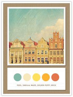 Colour Palette: pool, vanilla, maize, golden poppy, brick