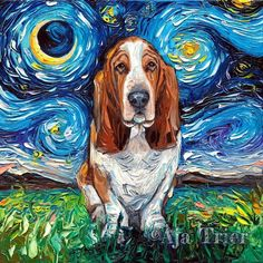 In her Starry Night Dogs series, artist Aja Trier places pups inside Van Gogh's most iconic painting.