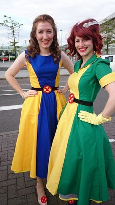 1950s rockabilly reimagined jean grey and rogue xmen cosplay