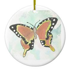 Orange Butterfly Circular Ornament from Original Watercolor Painting Christmas…