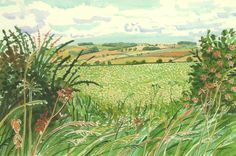 """A Gap in the Hedgerow from """"Midsummer: East Yorkshire"""", 2004 Watercolor on paper (part 34 of a work) 15 x 22 The David Hockney Foundation David Hockney Landscapes, David Hockney Artist, David Hockney Paintings, Watercolor Landscape, Landscape Art, Landscape Paintings, Claude Monet, Watercolour Drawings, Watercolor Techniques"""