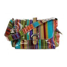 Kalencom Laminated Buckle Diaper Bag - Spize Stripes - 2960-SPIZESTRIPES