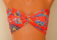 Oh my. I will I ever decide!! I LOVE THIS ONE TOO!! Red floral spandex twisted swimsuit bandeau strappless bra bandeau bikini siwmwear bandeau bikini top girly accessories