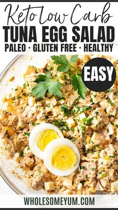 Tuna Egg Salad Recipe - An EASY tuna egg salad recipe! See how to make tuna salad with eggs in just 10 minutes. Plus, tuna and egg salad stores is healthy and perfect to make ahead. #wholesomeyum Healthy Salad Recipes, Real Food Recipes, Keto Recipes, Work Meals, Easy Meals, Tuna Egg Salad, Cooking Ideas, Cooking Recipes, Tuna And Egg