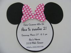 Can't wait to have a little girl and throw her a Minnie Mouse Birthday! My birthday was Minnie mouse :) Minnie Mouse Birthday Invitations, Pink Invitations, Mickey Mouse Birthday, Minnie Mouse Party, Invitation Templates, Pink Minnie, Invitation Wording, Invitation Ideas, Invitation Cards