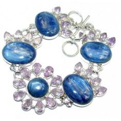 925 SOLID STERLING FINE SILVER SECRET OCEAN AFRICAN KYANITE & LILAC QUARTZ BRACELET