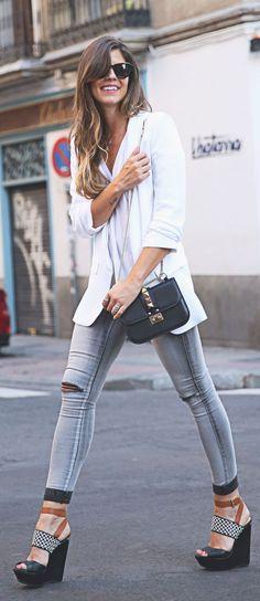 Grey Ripped Skinnies by TrendyTaste