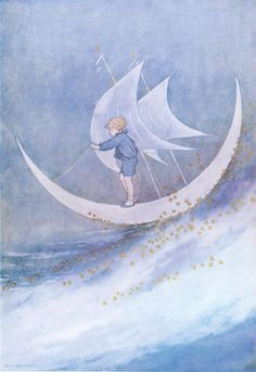 Sailing on the moon and the stars. Illustration by Ida Rentoul Outhwaite (creative commons) Art And Illustration, You Are My Moon, Moon Art, Blue Moon, Moon Moon, Stars And Moon, Illustrators, Fantasy Art, Fairy Tales