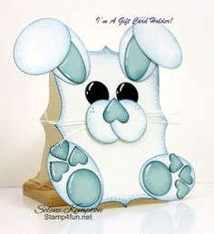 Stamp 4 fun with Selene Kempton: 3/21 Stampin' Up! Hello Mr. Bunny Love, punch art Gift card Holder.
