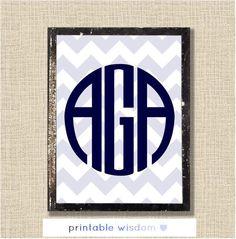 Circle Monogram Print Art, Printable wall decor poster, baby nursery children dorm, typography - chevrons, personalized initials. $8.00, via Etsy.