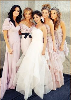 Chic Blush Pink Bridesmaid Dresses #Wedding
