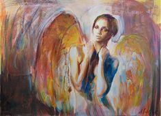 Angel Gouache painting by Aleksandra Galas Gouache Painting, Mixed Media Painting, Watercolor, Artworks, Portrait, Angels, Atelier, Summer 2015, Idea Paint