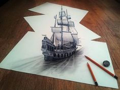 Self-taught artist Ramon Bruin has created more impressive 3D drawings across several sheets of flat paper.